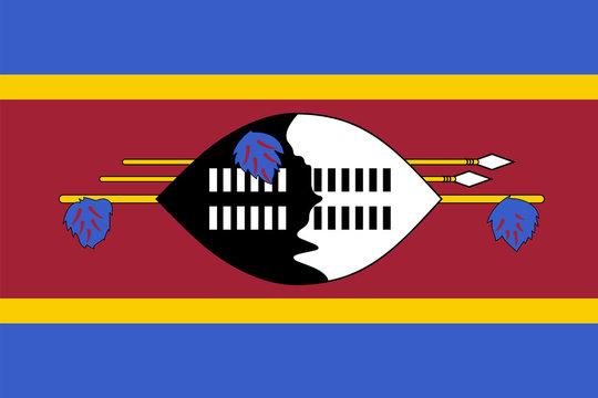 Vector flag of Eswatini. Proportion 2:3. Swazi national flag. Kingdom of Eswatini.