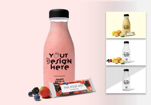 Mockup of a Beverage Bottle with Snack Bar Packaging Design