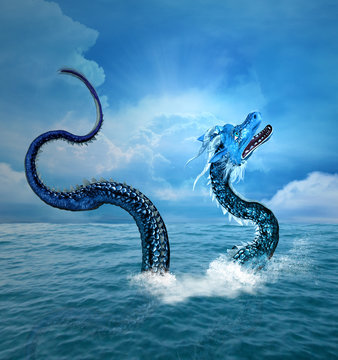 Sea dragon arising from the blue ocean
