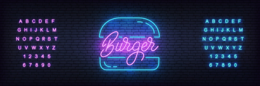 Burger neon template. Glowing lettering burger sign for bar, cafe, fastfood.