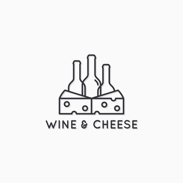 Wine and cheese linear logo. Wine bottles