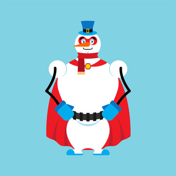 Snowman superhero. Super snow man in mask and raincoat.