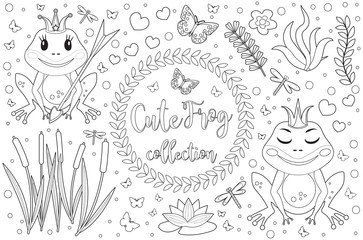 Lamas personalizadas infantiles con tu foto Cute frog princess Coloring book page for kids. Collection of design element with marsh reeds, flowers, plants. Childrens baby clip art funny smiling animals. Vector illustration.