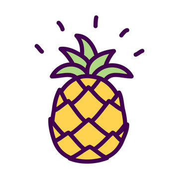 Simple pineapple cute doodle drawing vector isolated
