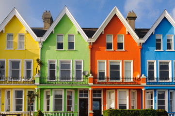 Row of brightly painted multicoloured houses in Whitehead, Northern Ireland
