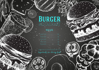 Burgers and ingredients for burgers vector illustration. Fast food, junk food frame. American food. Elements for burgers restaurant menu design. Engraved image, retro style.