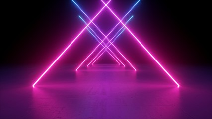 3d render, neon light rods, pink and blue lines, tunnel in virtual reality, triangular corridor, ultraviolet abstract background, laser show stage, fashion catwalk podium, road Wall mural