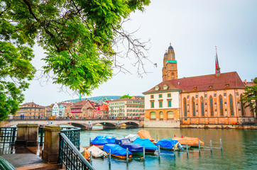 Wall Mural - Beautiful river Limmat and city center of Zurich, Switzerland