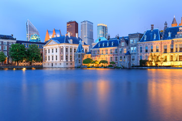 Cityscape of The Hague in the evening in The Netherlands.