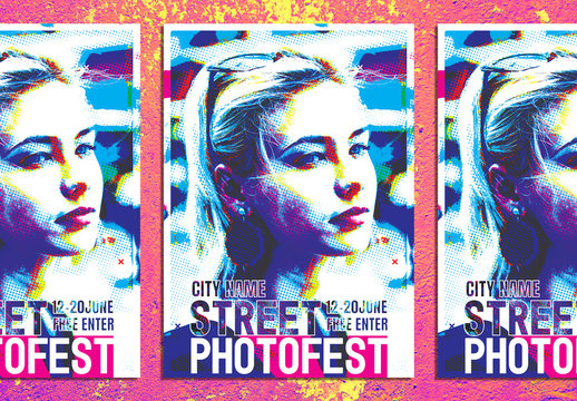 Photography Event Flyer Layout with Bitmap Effect