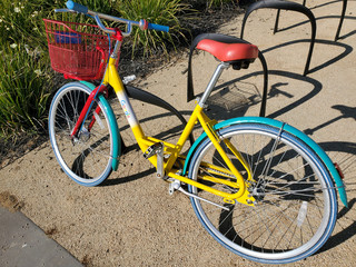 A bicycle stands among a fleet Google provides to employees, known as a Gbike, to travel between offices at the Google headquarters in Mountain View, California