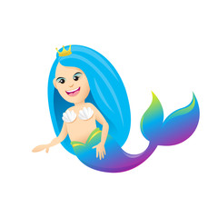 Photo sur Aluminium Mermaid mermaid cartoon character cute isolated on white background, beautiful mermaid cartoon characters cute, clip art mermaid blue lovely and funny, clipart mermaid mascot cartoon purple blue