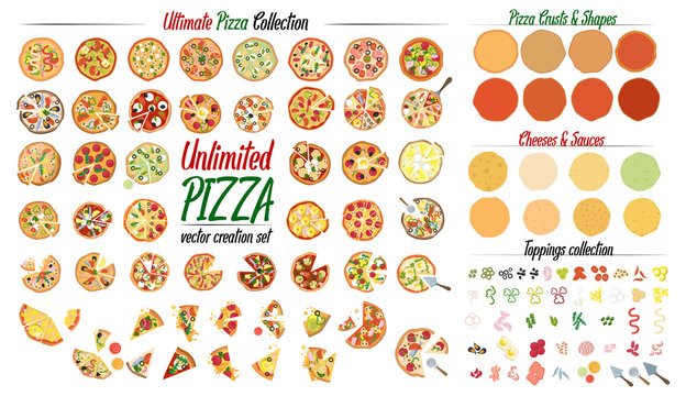 Ultimate Pizza collection set. Create your own pizza with 50 different pizza design and tons of toppings. Vector illustrations.