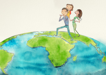 Happy family. Watercolor concept background