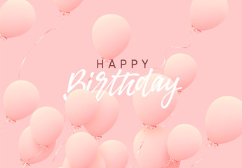 Happy birthday greeting card. Festive background with helium balloons. Celebrate a birthday, Poster, banner anniversary.