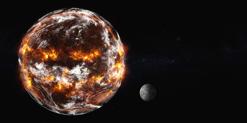 Planet Earth with Moon of Solar system explosion in the outer space. Humanity end. Planetary death concept. Elements of this image were furnished by NASA.