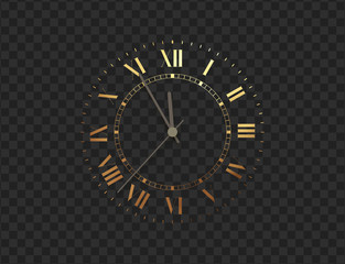 Gold clock, five minutes to midnight