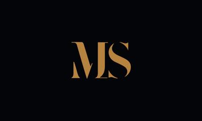 MS logo design icon template vector illustration minimal design