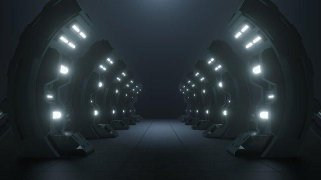 Science background fiction interior rendering sci-fi Spaceship Triangle Dark Empty Corridor the door to the future.3D Rendering