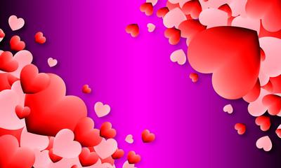 couleur cœur rouge sur fond violet