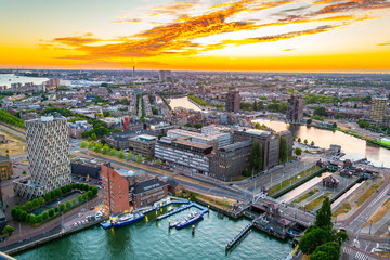 Photo sur Aluminium Rotterdam Sunset aerial view of Port of Rotterdam, Netherlands