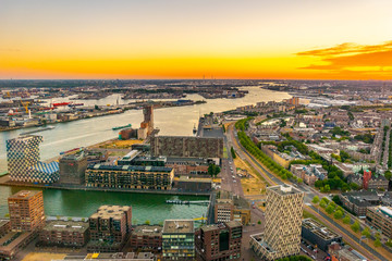Deurstickers Rotterdam Sunset aerial view of Port of Rotterdam, Netherlands