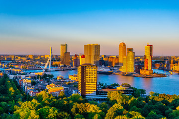 Fototapeten Rotterdam Sunset aerial view of Erasmus bridge and skyline of Rotterdam, Netherlands