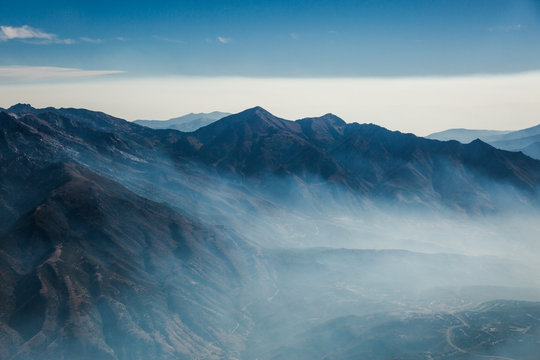 Aerial View of a California Mountain Wildfire Smoke from Above