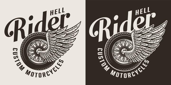 Vintage monochrome custom motorcycle label
