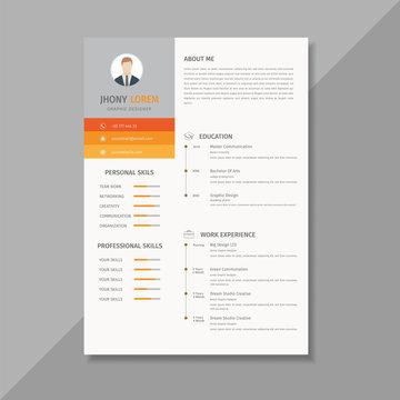 Creative resume template / CV, orange and yellow combination looks elegant - Vector