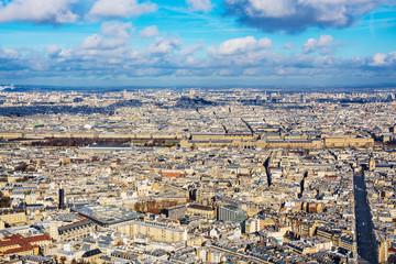 Paris cityscape. Aerial view of Palais du Louvre, seen from the Montparnasse skyscraper