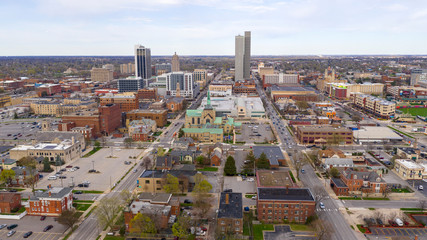 Long Flat Urban City Syline in Fort Wayne Indiana