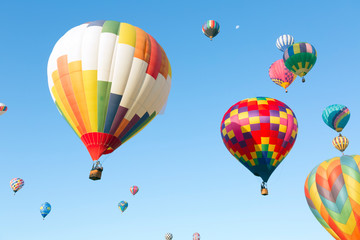 Multi colored hot air balloons in the sky