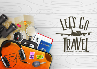 3D Realistic Let's Go Travel Around The World Creative Banner with Travelling Item such as Binoculars, Map, Compass, Magnifying Glass, Sunglasses, Car Key, Headset, Passport, Pen, Suitcase