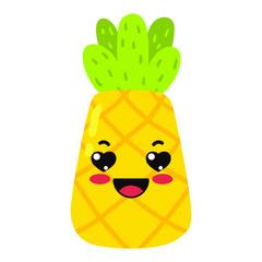 kawaii cartoon cute pineapple fruit  Emoji Sticker  lovestruck character on white background delicious icon design vector illustration