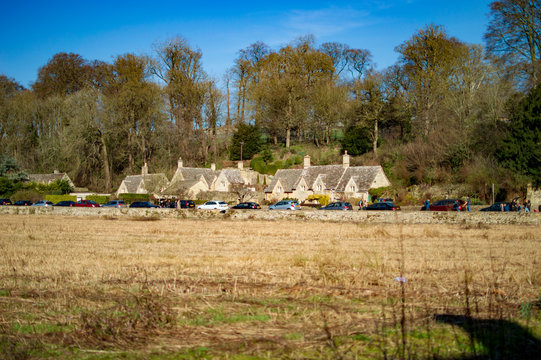 Bibury village in cotswolds having the open ground with cottages