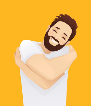 Happy handsome smiling man hugging himself with enjoying face isolated on yellow background. Love by yourself vector illustration