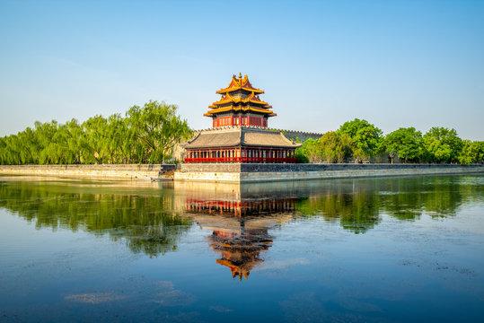 corner tower at the forbidden city, beijing, china