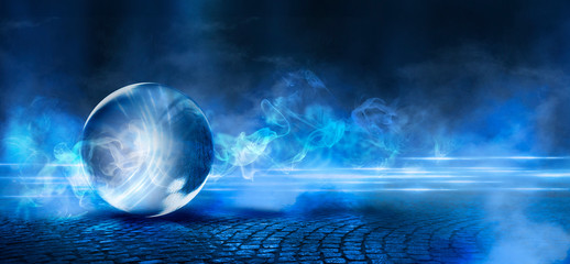 Background of wet asphalt with neon light on a dark street. Reflection of neon lights in puddles, bright colors, glass ball. Neon night city. Magic ball, smoke, night view. Wall mural