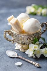 Vanilla ice cream balls.