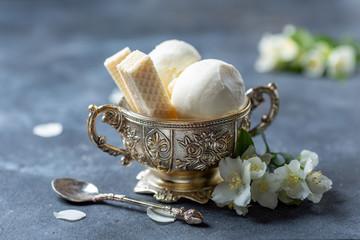 Artisanal organic vanilla ice cream.