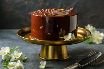 Modern mousse cake with chocolate decor.