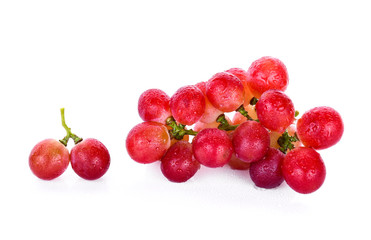 red grapes with water drops isolated on white background Fototapete
