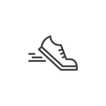 Running shoes line icon. linear style sign for mobile concept and web design. Sport shoe outline vector icon. Symbol, logo illustration. Pixel perfect vector graphics