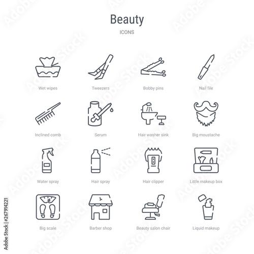 Brilliant Set Of 16 Beauty Concept Vector Line Icons Such As Liquid Home Interior And Landscaping Eliaenasavecom