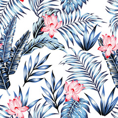 Wall Mural - Blue tropical leaves pink flowers white background