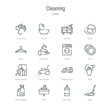 set of 16 cleaning concept vector line icons such as mop, dish soap, sink, cleaning spray, wipe, garbage truck, lawn mower, glass cleaning. 64x64 thin stroke icons