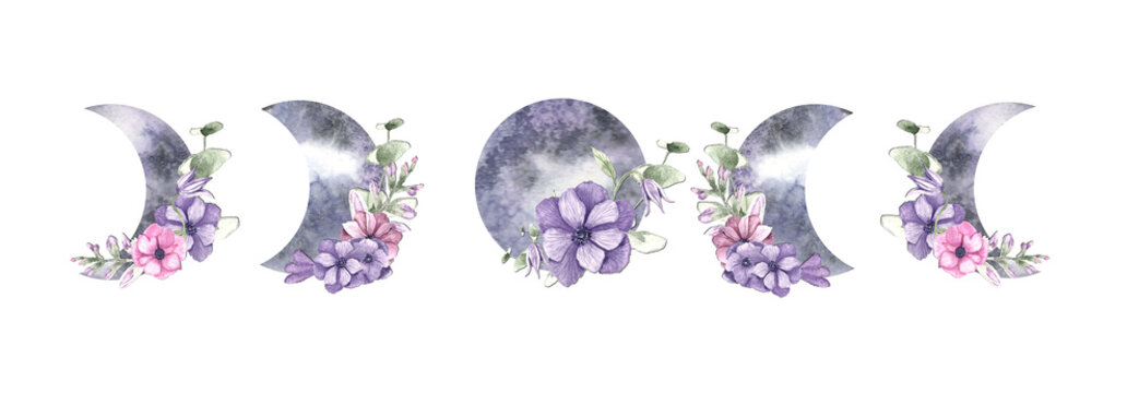 mystical moon, watercolor moon in purple hues, moon with flower, a number of moon and months