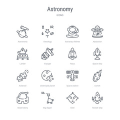set of 16 astronomy concept vector line icons such as rocket ship, alien, big dipper, observatory, comet, space station, destroyed planet, asteroid. 64x64 thin stroke icons