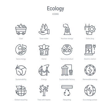 set of 16 ecology concept vector line icons such as eco energy power, recycling, tree with hearts, global recycling, renewable energy, sustainable factory, energy, sustainability. 64x64 thin stroke